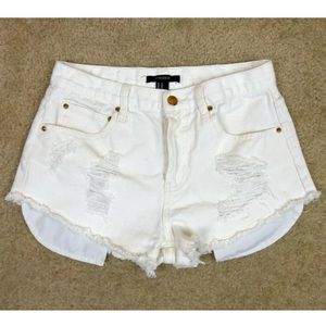 Forever 21 Ivory Distressed Cut Off Denim Shorts